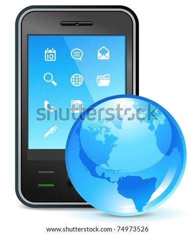 global business icon - cell phone and globe