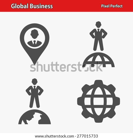 Global Business Icons. Professional, pixel perfect icons optimized for both large and small resolutions. EPS 8 format. Designed at 32 x 32 pixels.