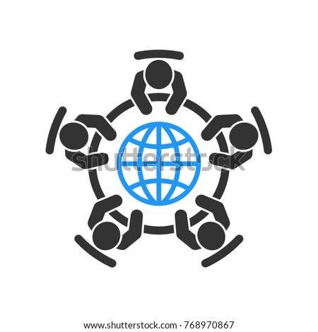 Global business meeting icon. Group of five people sitting around a table brainstorming and working together.