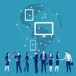 Global Business Network. Illustration of a business team and network.
