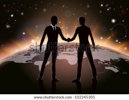 Global business or networking concept, business men shaking hands in agreement on world map