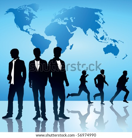 Global Business silhouettes in front of world map.