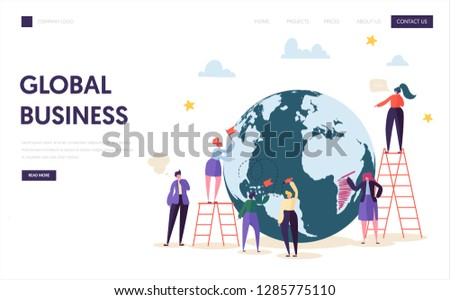 Global Business Team Character Landing Page. Corporate Businessman Work at World Globe with Ladder. Worldwide Logistic Success Contract Concept for Website or Web Page Flat Cartoon Vector Illustration