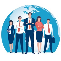 Global Business Team. Illustration of a business team and globe.