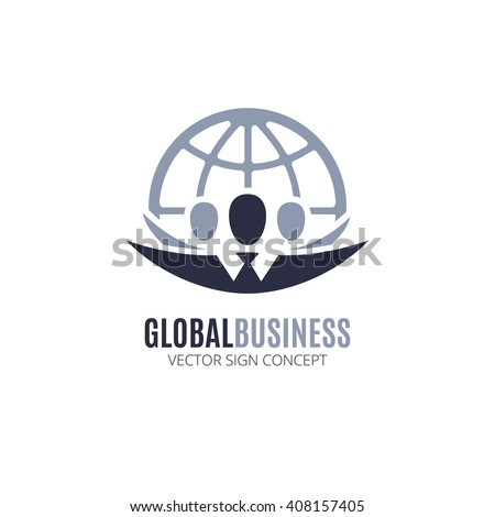 Global Business vector logo design template. Illustration with people silhouette and globe symbol. This logo could be used for successful businesses and service, social network, partnership, teamwork.