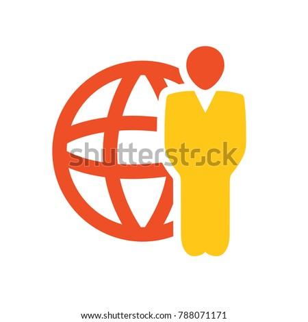global businessman icon - communication Icon
