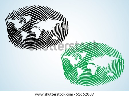 Global Citizen - a thumbprint with world map on it