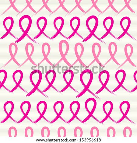 Global collaboration breast cancer awareness concept illustration. Seamless pattern background made with ribbon symbols. EPS10 vector file organized in layers for easy editing.