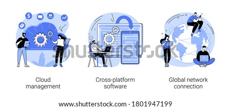 Global communication abstract concept vector illustration set. Cloud management, cross-platform software, global network connection, data storage, application development, computing abstract metaphor.