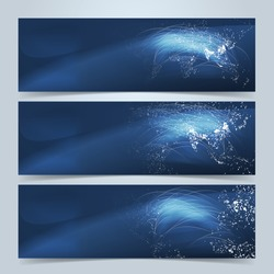 Global communication banners or website header set. Dotted world maps and glowing communication lines on blue background