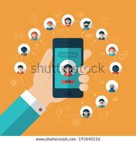 Global communication concept with flat icons. Vector illustration