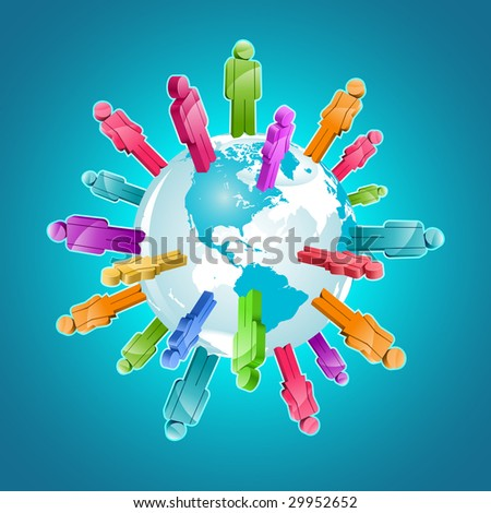 Global community. 3d vector illustration.