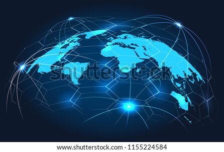 Global connection concept. Connections world map on blue background, international digital connected earth for business and technology, vector illustration