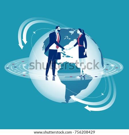 Global cooperation. Businesspersons shaking hands. Business concept vector illustration.