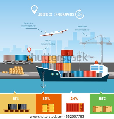Global delivery concept logistics set of air cargo trucking rail transportation maritime shipping. Shipping port vector.  Sea transportation logistic infographics.