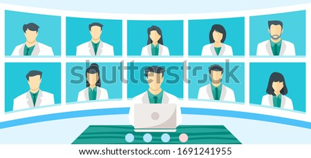 Global Doctor Emergency Medical Crisis TV Video Web Conference Teleconference. Surgeon Specialist Expert Nurse Assistant Online Virtual Meetings. Hospital Team Remote Work During COVID-19 Pandemic