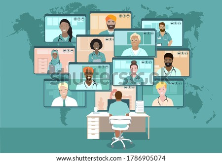 Global Doctors web conference, Emergency medical crisis video call Teleconference. Surgeon Specialist Expert Nurse Assistant Online Virtual Meetings. Hospital team remote work during COVID-19 pandemic