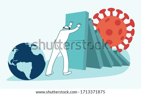 Global economic impacts 2020. Market and economics collapse. Coronavirus or COVID-19 pandemic global impact. Closed border, collapsed world market and economic crisis, panic and food shortages. Vector Stock photo ©