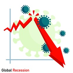 Global economic recession 2020 during coronavirus or COVID-19. Business concept.