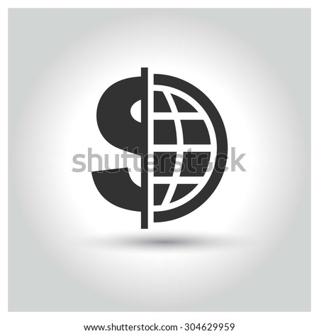 Global economy icon. Circle concept web buttons. vector illustration. Flat design style