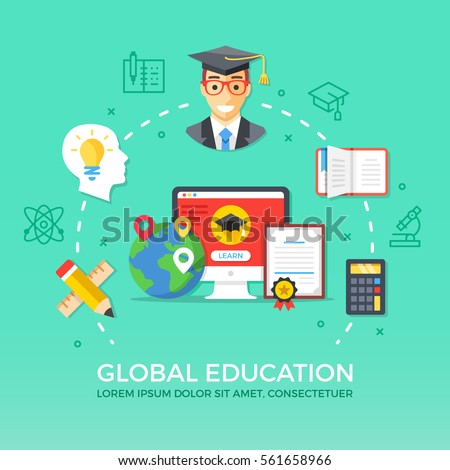 Global education. Flat design graphic elements, signs and symbols, line icons set. Premium quality. Modern concept for web banners, websites, infographics, printed materials. Vector illustration