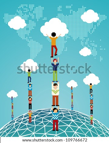 Global expansion of cloud computing concept illustration. Vector illustration layered for easy manipulation and custom coloring.