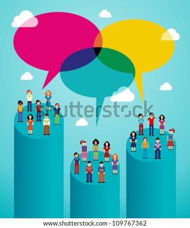 Global expansion of social network population interaction using cloud computing. Vector illustration layered for easy manipulation and custom coloring.