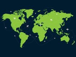 Global flight chart concept, green world map, plane fly in sky, vector illustration on dark background