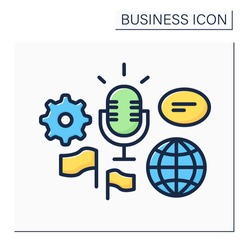 Global forum color icon. Representing new business ideas on international forum. Communication and discussion. Speech.Business idea concept. Isolated vector illustration