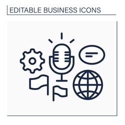 Global forum line icon. Representing new business ideas on international forum. Communication and discussion. Speech.Business idea concept. Isolated vector illustration.Editable stroke