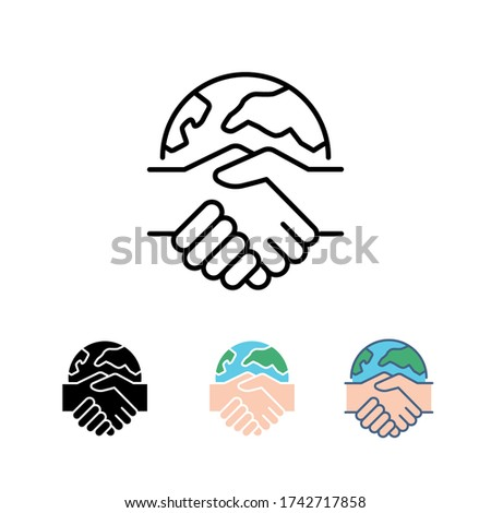Global handshake sign for collaboration.  International partners, global business contract between international companies. World globe international partnership icon. Vector illustration. EPS10