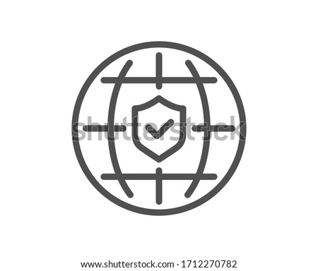 Global insurance line icon. Travel risk coverage sign. Policyholder protection symbol. Quality design element. Editable stroke. Linear style global insurance icon. Vector Foto stock ©