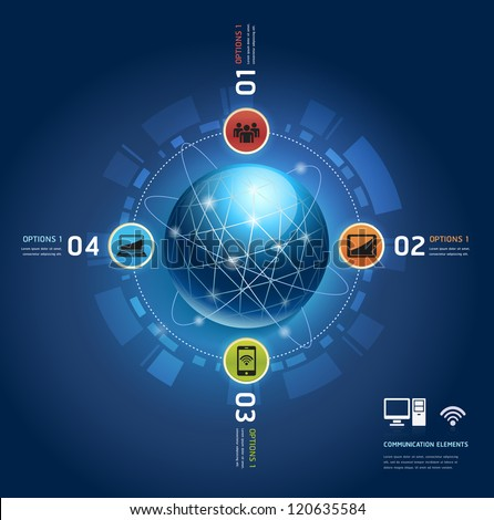 Global internet communication with orbits. Number Options template. Vector illustration