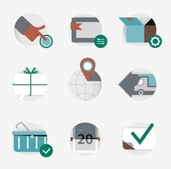 Global logistics and delivery set for web design, mobile application, logo or badge. Distribution icon collection for UI. Vector illustration
