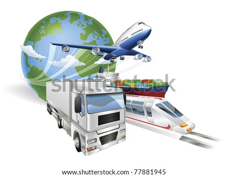 Global logistics concept illustration. Globe airplane aeroplane truck train and cargo container ship.