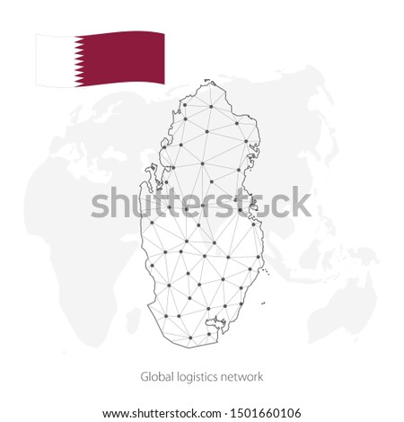 Global logistics network concept. Communications network map Qatar on the world background. Map of  Qatar with nodes in polygonal style and flag. Vector illustration EPS10.
