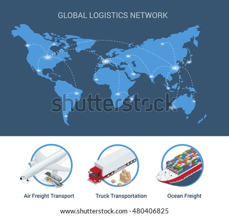 Global logistics network. Flat 3d isometric vector illustration Air cargo trucking, rail transportation, maritime shipping. On-time delivery. Vehicles designed to carry large numbers cargo