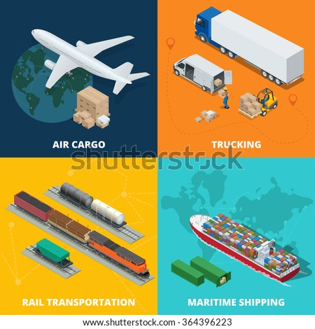 Global logistics network. Flat 3d isometric vector illustration Air cargo trucking, rail and air transportation, maritime shipping. On-time delivery. Vehicles designed to carry large numbers cargo