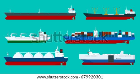 Global logistics network Flat 3d isometric vector illustration Sea transport ships set container, bulker, ro-ro, tanker, dry cargo