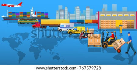 Global logistics network. Flat vector illustration. Air cargo, rail transportation, maritime shipping, warehouse, delivery man, container ship, city skyline on World map