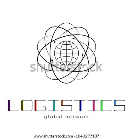 Global logistics network. Map global logistics partnership connection.  Global logistics concept and colorful lettering.  Flat design. Vector illustration EPS10.