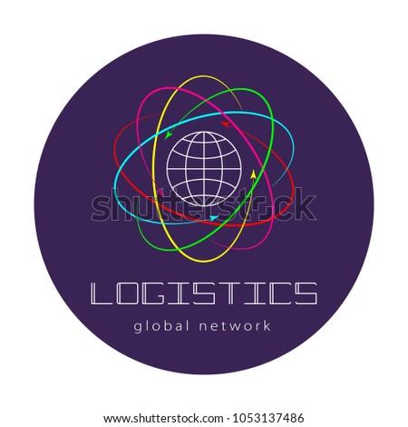 Global logistics network. Map global logistics partnership connection.  Global logistics concept and lettering on violet circle.  Flat design. Vector illustration EPS10.