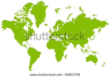 Global map, isolated on a white. Vector illustration - stock vector