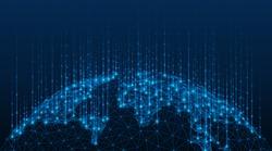 Global map of the world. Data transmission technology. Polygonal model of the globe. Blue background.