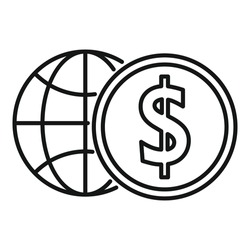 Global money broker icon. Outline Global money broker vector icon for web design isolated on white background