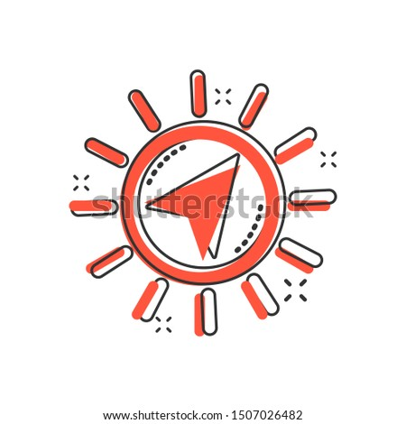 Global navigation icon in comic style. Compass gps vector cartoon illustration on white isolated background. Location discovery business concept splash effect.