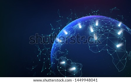 Global network business connections with dots and light flashes. World map network communications.