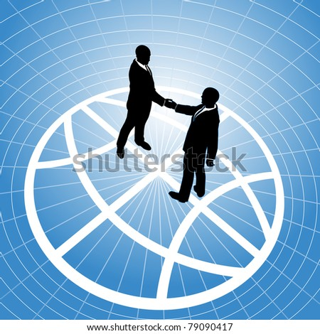 Global network business men partner in a  handshake for world agreement