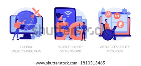 Global network communication abstract concept vector illustration set. Global web connection, mobile phones 5G network, web accessibility program, satellite, GPS technology internet abstract metaphor. Foto stock ©