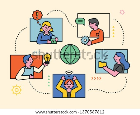 Global network concept. People who communicate with each other. flat design style minimal vector illustration